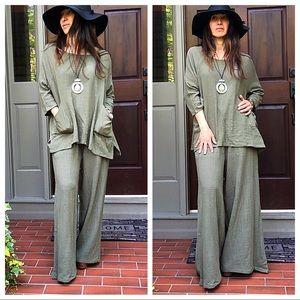 Pants - Olive gorgeous gauze wide leg palazzo pants